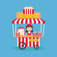 Verkäuferin verkaufen Popcorn Stand Street vektor