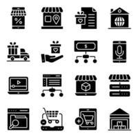 paket med shopping och köp av fasta ikoner vektor
