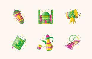 glad eid mubarak söt ikonuppsättning