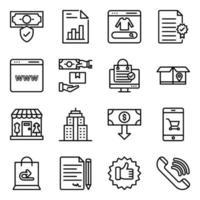 Packung Ausgaben linearen Icons vektor