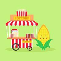 süße Mais verkaufen Popcorn Stand Straße vektor