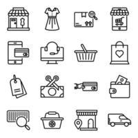 paket med shopping linjära ikoner