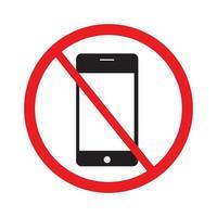 Verwenden Sie Ihr Mobiltelefonsymbol nicht auf weißem Hintergrundvektor. vektor