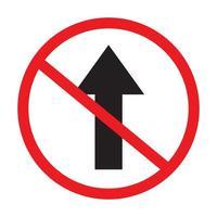 kein direktes Verkehrszeichen auf weißem Hintergrundvektor. vektor