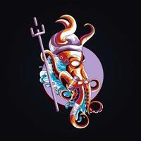 bläckfisk krig konstverk illustration vektor