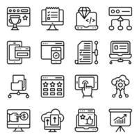 paket med marknadsföring linjära ikoner vektor