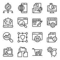 paket med sökmotoroptimering linjära ikoner vektor