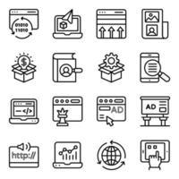 paket med seo och webbteknik linjära ikoner vektor