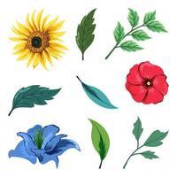 samling av vackra örter och vilda blommor och blad isolerad på vit bakgrund. vektor