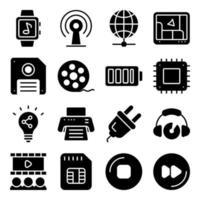 paket med enheter och tekniska fasta ikoner vektor