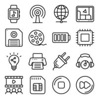paket med enheter och tekniska linjära ikoner vektor