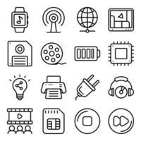 Packung Geräte und Technologie lineare Symbole vektor