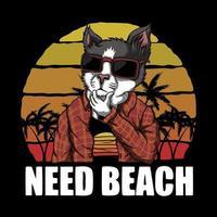 katt behöver strand solnedgång retro vektorillustration vektor