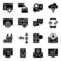 paket med seo fasta ikoner vektor