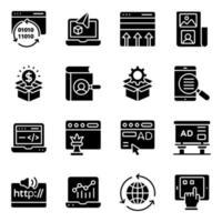 paket med seo och webbteknik solida ikoner vektor