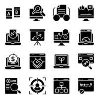 förpackning med fasta ikoner för webb och nätverk