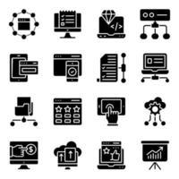 paket med solida ikoner för marknadsföring vektor