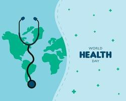 världens hälsodag med stetoskopvektor vektor