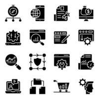 paket med sökmotoroptimering solida ikoner vektor