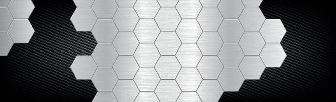 abstrakt bakgrund hexagoner från metall och kolfiber - vektorillustration vektor