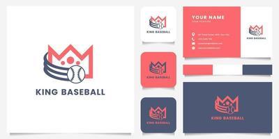 Darting Baseball und Krone Logo mit Visitenkartenschablone vektor