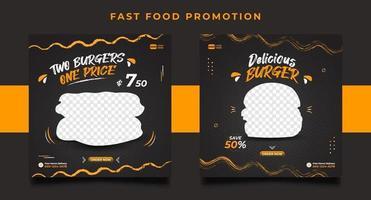 burger mat meny marknadsföring sociala medier post banner mallar. vektor