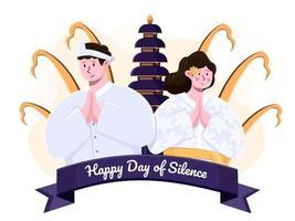 Illustration Bali Tag der Stille oder mit balinesischen Menschen in traditioneller Kleidung. Gruß glücklicher Tag der Stille und Saka neues Jahr. indonesischer Feiertag Nyepi. vektor