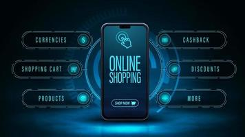 Online-Shopping, dunkles und blaues digitales Web-Banner mit Smartphone- und Hologramm-Oberfläche. Web-Banner für Ihr Produkt im modernen digitalen Stil vektor