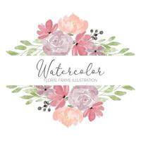 akvarell ros blomma ram illustration