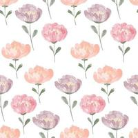 akvarell pion blommig sömlös mönster pastellfärg