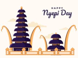 Bali glücklicher Tag der Stille und des hinduistischen neuen Jahres, saka ilustration mit hinduistischem Tempelgebäude. vektor