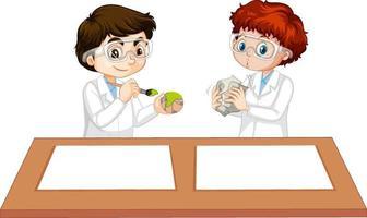 två pojkar som bär forskarklänning med tomt papper på bordet vektor