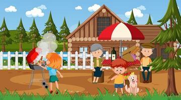 Naturszene im Freien mit glücklicher Familie, die ein Picknick hat vektor