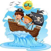 parate ungar på båten på vit bakgrund
