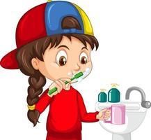 eine Mädchenzeichentrickfigur, die Zähne mit Wasserspüle putzt vektor