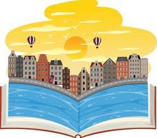 öppen bok med Venedig stad vektor