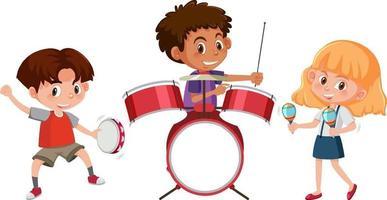 Satz von verschiedenen Kindern, die Musikinstrumente spielen vektor