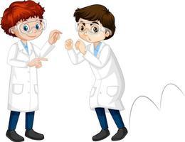 zwei junge Wissenschaftler machen Springen vektor