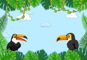 leeres Banner mit tropischem Blattrahmen und Tukan-Zeichentrickfigur