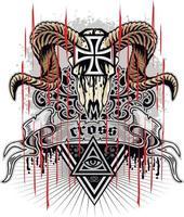 gotisches Zeichen mit Widderschädel und -kreuz, Grunge-Weinlese-Design-T-Shirts vektor