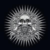 gotisk skylt med skallen och ögat av försyn i triangel, t-shirts med grunge vintage design vektor