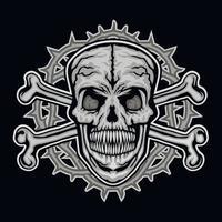 gotisches Zeichen mit Schädel und Knochen, Grunge Vintage Design T-Shirts vektor