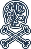 mexikanisches Zuckerschädelmuster, Vintages Design für T-Shirts vektor