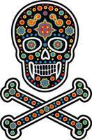 mexikansk sockerskalle mönster, vintage design för t-shirts vektor