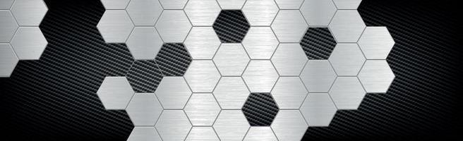 abstrakte Hintergrundsechsecke aus Metall und Kohlefaser - Vektorillustration vektor