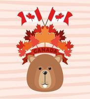 Kanada Tag mit Biber und Ahornblatt Design vektor