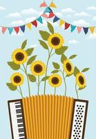 Sonnenblumengarten mit Akkordeon- und Girlandenszene vektor