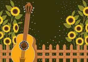 schöner Sonnenblumengarten mit Zaun und Gitarre vektor