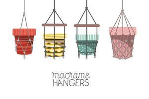 uppsättning hängare för macrame-krukor vektor