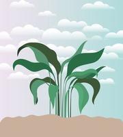 Pflanze auf einer Gartenszene vektor